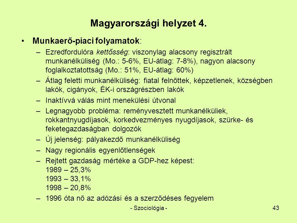 - Szociológia -43 Magyarországi helyzet 4. Munkaerő-piaci folyamatok: –Ezredfordulóra kettősség: viszonylag alacsony regisztrált munkanélküliség (Mo.: