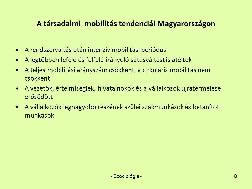 - Szociológia -8 A társadalmi mobilitás tendenciái Magyarországon A rendszerváltás után intenzív mobilitási periódus A legtöbben lefelé és felfelé irá