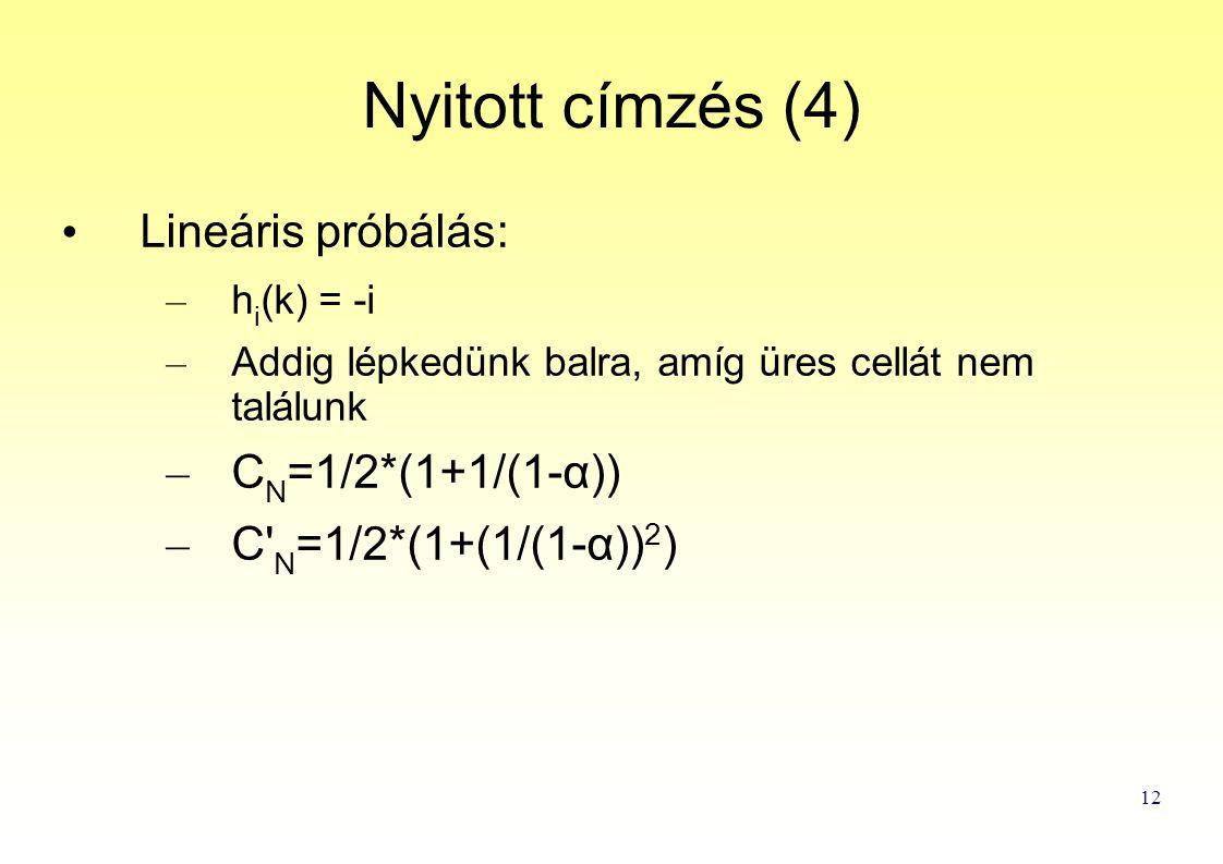 12 Nyitott címzés (4) Lineáris próbálás: – h i (k) = -i – Addig lépkedünk balra, amíg üres cellát nem találunk – C N =1/2*(1+1/(1-α)) – C N =1/2*(1+(1/(1-α)) 2 )