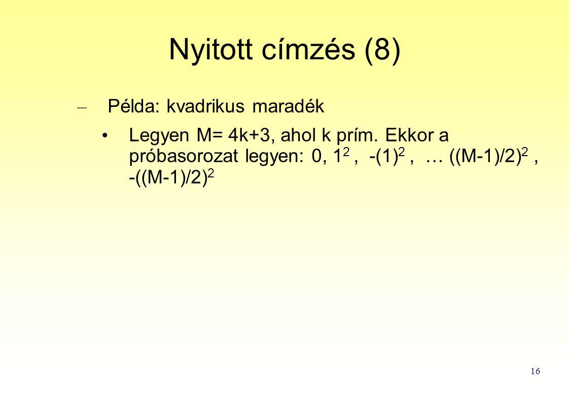 16 Nyitott címzés (8) – Példa: kvadrikus maradék Legyen M= 4k+3, ahol k prím.