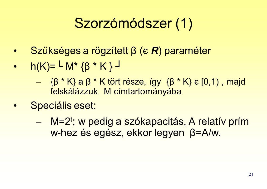 21 Szorzómódszer (1) Szükséges a rögzített β (є R) paraméter h(K)=└ M* {β * K } ┘ – {β * K} a β * K tört része, így {β * K} є [0,1), majd felskálázzuk M címtartományába Speciális eset: – M=2 t ; w pedig a szókapacitás, A relatív prím w-hez és egész, ekkor legyen β=A/w.