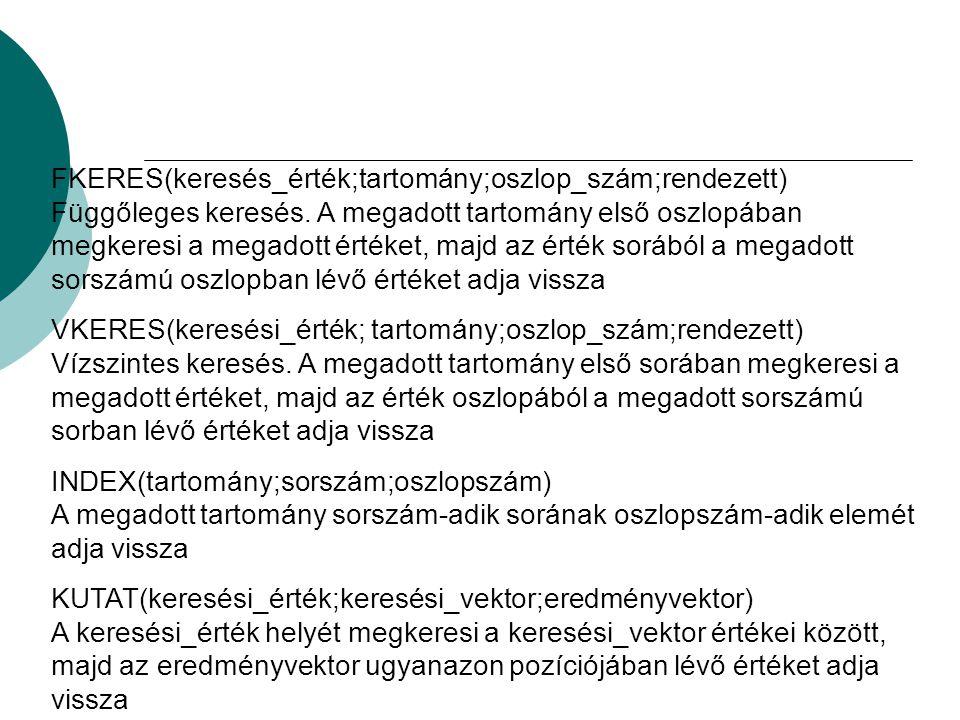 FKERES(keresés_érték;tartomány;oszlop_szám;rendezett) Függőleges keresés.