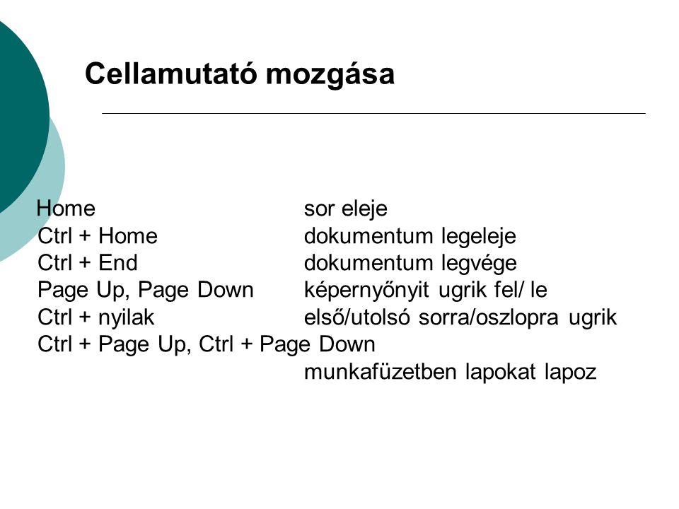 Home sor eleje Ctrl + Home dokumentum legeleje Ctrl + End dokumentum legvége Page Up, Page Down képernyőnyit ugrik fel/ le Ctrl + nyilak első/utolsó sorra/oszlopra ugrik Ctrl + Page Up, Ctrl + Page Down munkafüzetben lapokat lapoz Cellamutató mozgása