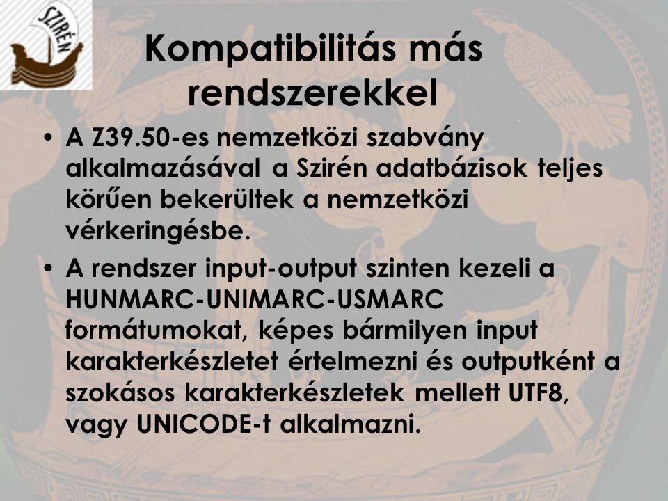 Kompatibilitás más rendszerekkel A Z39.50-es nemzetközi szabvány alkalmazásával a Szirén adatbázisok teljes körűen bekerültek a nemzetközi vérkeringés