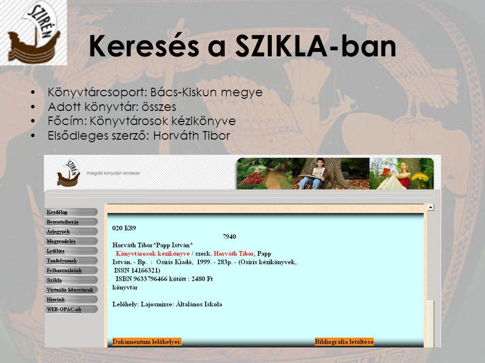 Keresés a SZIKLA-ban Könyvtárcsoport: Bács-Kiskun megye Adott könyvtár: összes Főcím: Könyvtárosok kézikönyve Elsődleges szerző: Horváth Tibor