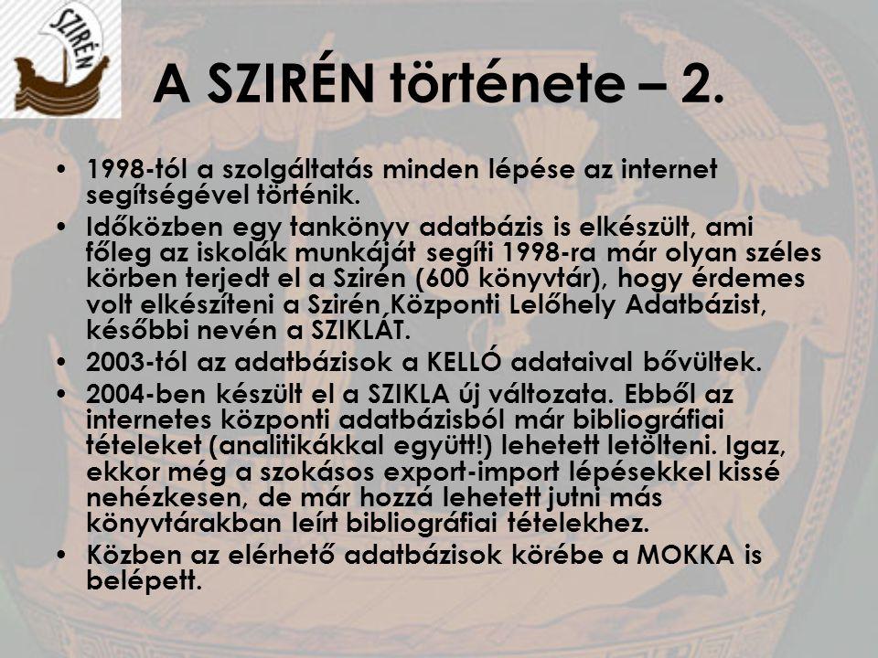 A SZIRÉN története – 2. 1998-tól a szolgáltatás minden lépése az internet segítségével történik. Időközben egy tankönyv adatbázis is elkészült, ami fő