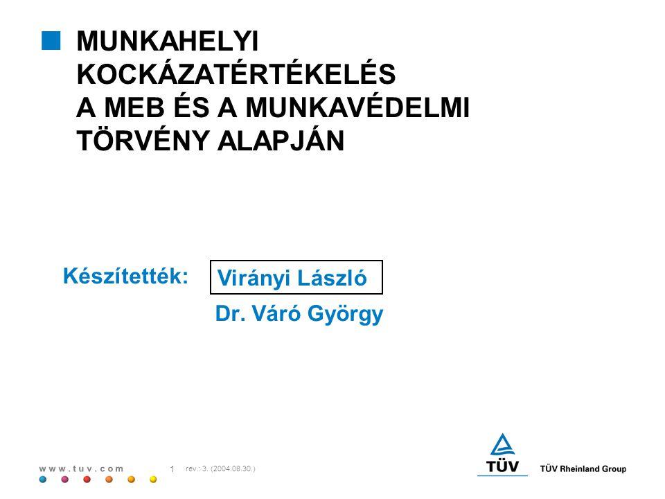 w w w. t u v. c o m 1 rev.: 3. (2004.08.30.)  MUNKAHELYI KOCKÁZATÉRTÉKELÉS A MEB ÉS A MUNKAVÉDELMI TÖRVÉNY ALAPJÁN Készítették: Dr. Váró György Virán