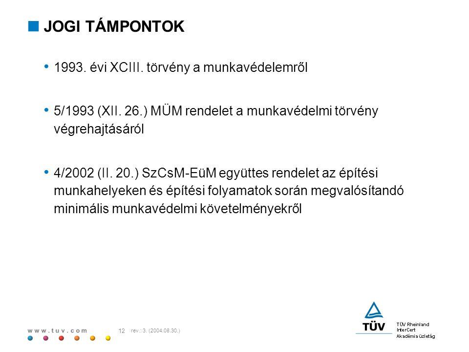 w w w. t u v. c o m 12 rev.: 3. (2004.08.30.)  JOGI TÁMPONTOK 1993. évi XCIII. törvény a munkavédelemről 5/1993 (XII. 26.) MÜM rendelet a munkavédelm
