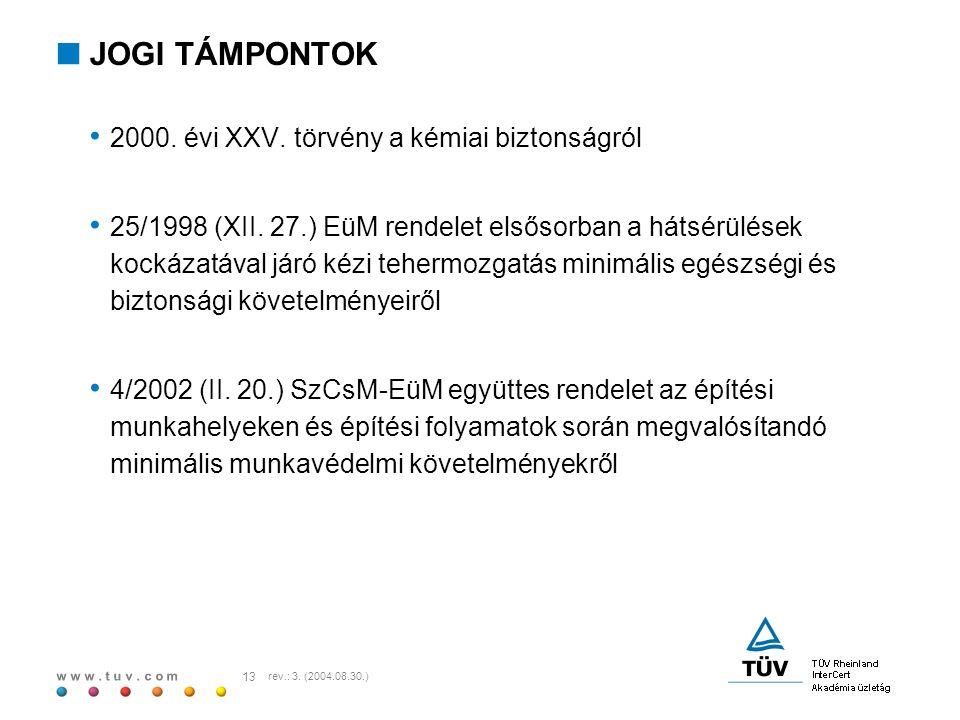 w w w. t u v. c o m 13 rev.: 3. (2004.08.30.)  JOGI TÁMPONTOK 2000. évi XXV. törvény a kémiai biztonságról 25/1998 (XII. 27.) EüM rendelet elsősorban