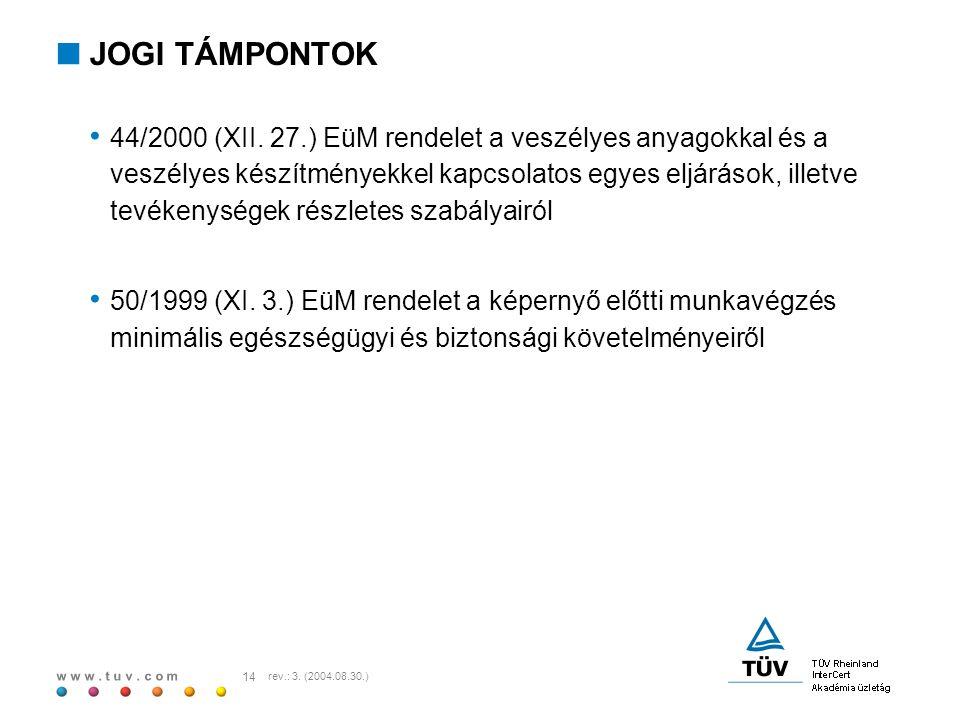 w w w. t u v. c o m 14 rev.: 3. (2004.08.30.)  JOGI TÁMPONTOK 44/2000 (XII. 27.) EüM rendelet a veszélyes anyagokkal és a veszélyes készítményekkel k