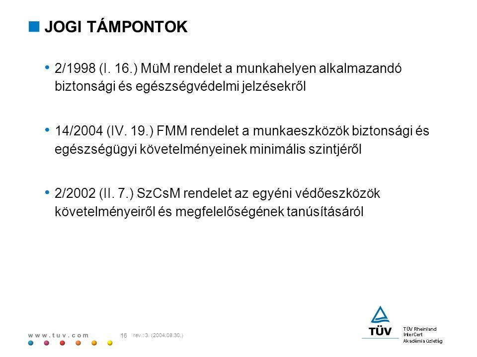 w w w. t u v. c o m 16 rev.: 3. (2004.08.30.)  JOGI TÁMPONTOK 2/1998 (I. 16.) MüM rendelet a munkahelyen alkalmazandó biztonsági és egészségvédelmi j