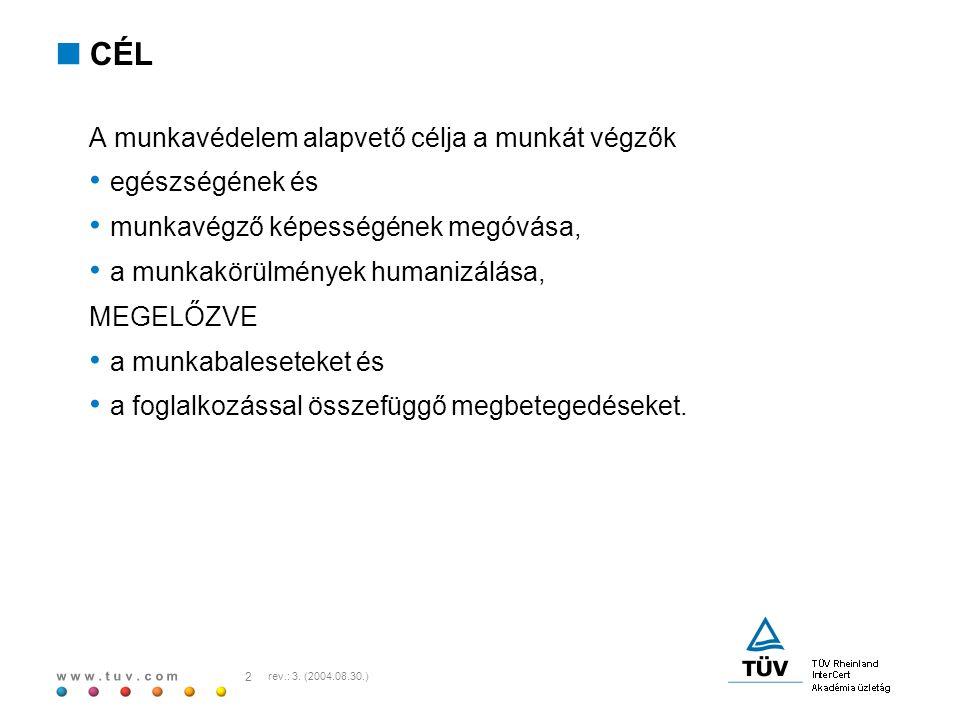 w w w.t u v. c o m 3 rev.: 3. (2004.08.30.)  TÖRVÉNYI ELŐÍRÁS (a munkavédelemről szóló 1993.