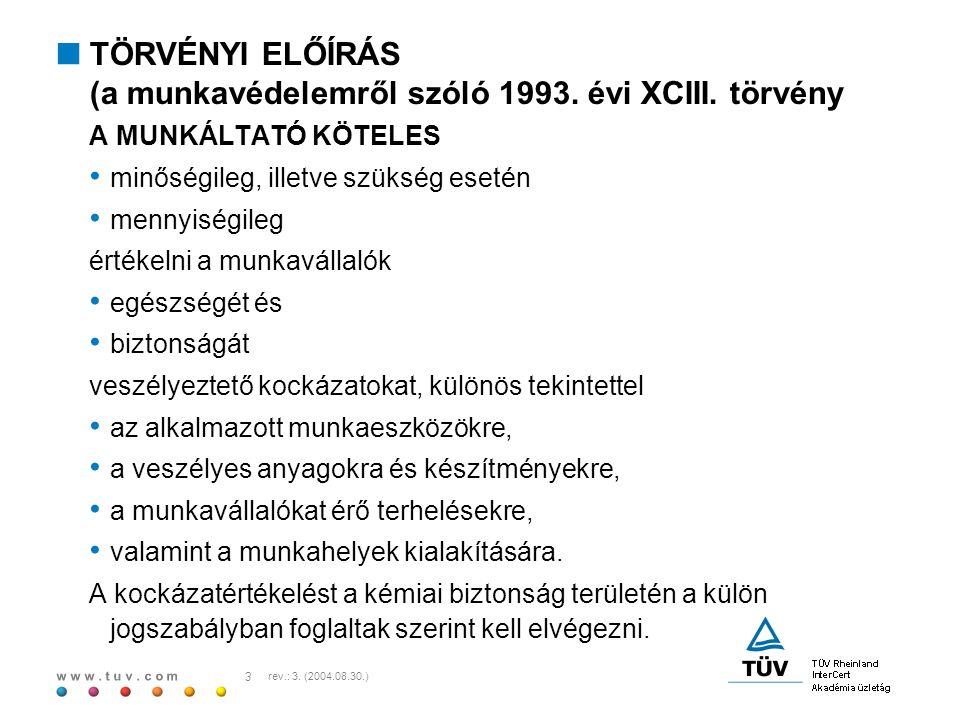 w w w. t u v. c o m 3 rev.: 3. (2004.08.30.)  TÖRVÉNYI ELŐÍRÁS (a munkavédelemről szóló 1993. évi XCIII. törvény A MUNKÁLTATÓ KÖTELES minőségileg, il