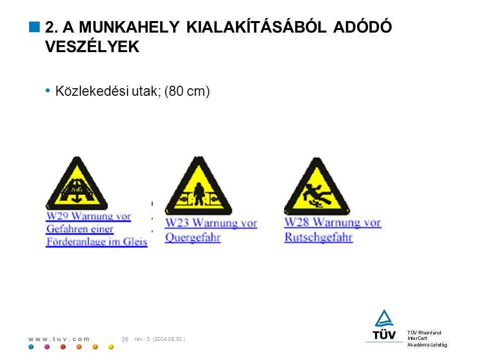 w w w. t u v. c o m 36 rev.: 3. (2004.08.30.)  2. A MUNKAHELY KIALAKÍTÁSÁBÓL ADÓDÓ VESZÉLYEK Közlekedési utak; (80 cm)