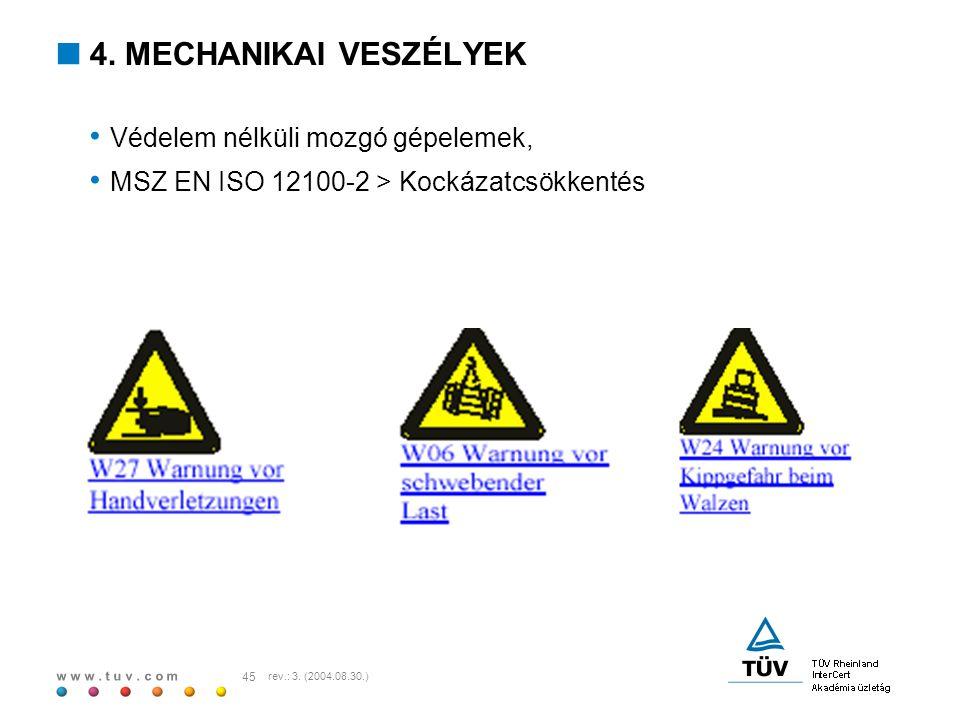 w w w. t u v. c o m 45 rev.: 3. (2004.08.30.)  4. MECHANIKAI VESZÉLYEK Védelem nélküli mozgó gépelemek, MSZ EN ISO 12100-2 > Kockázatcsökkentés