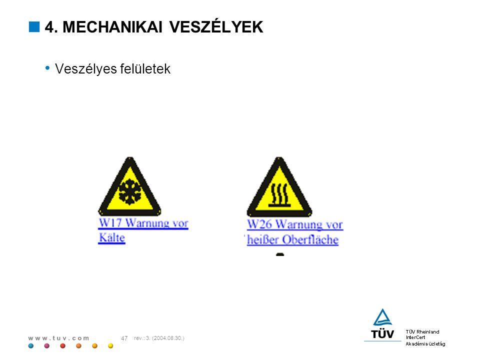 w w w. t u v. c o m 47 rev.: 3. (2004.08.30.)  4. MECHANIKAI VESZÉLYEK Veszélyes felületek