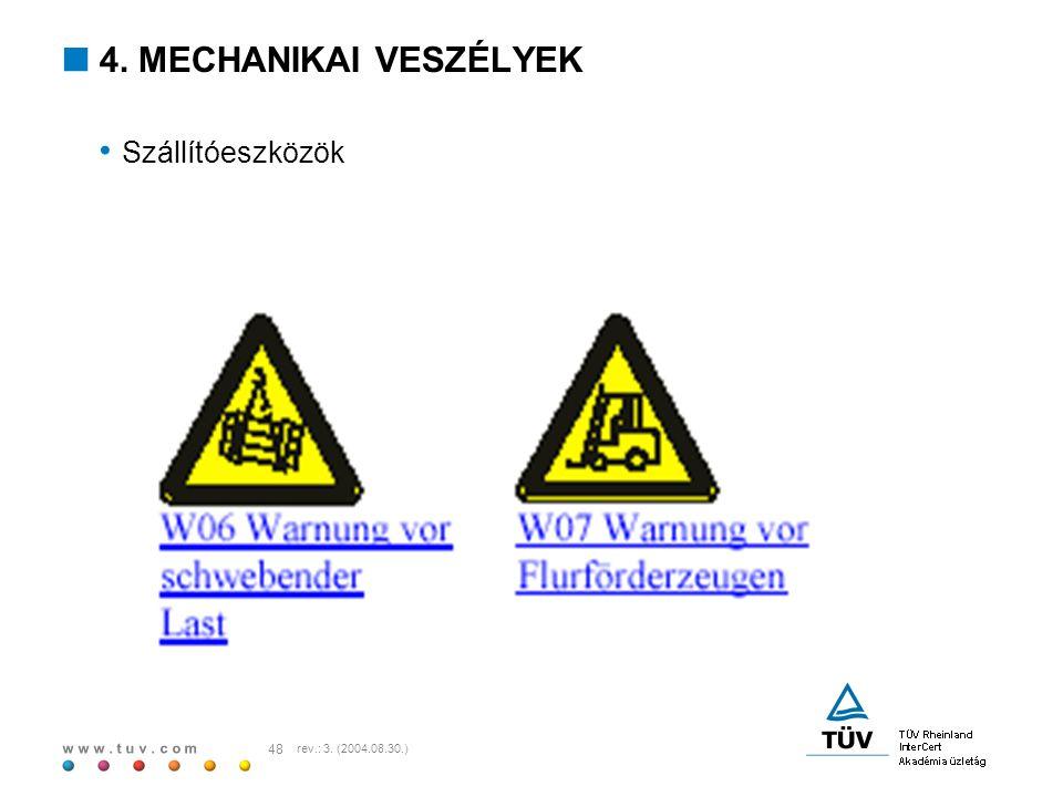 w w w. t u v. c o m 48 rev.: 3. (2004.08.30.)  4. MECHANIKAI VESZÉLYEK Szállítóeszközök