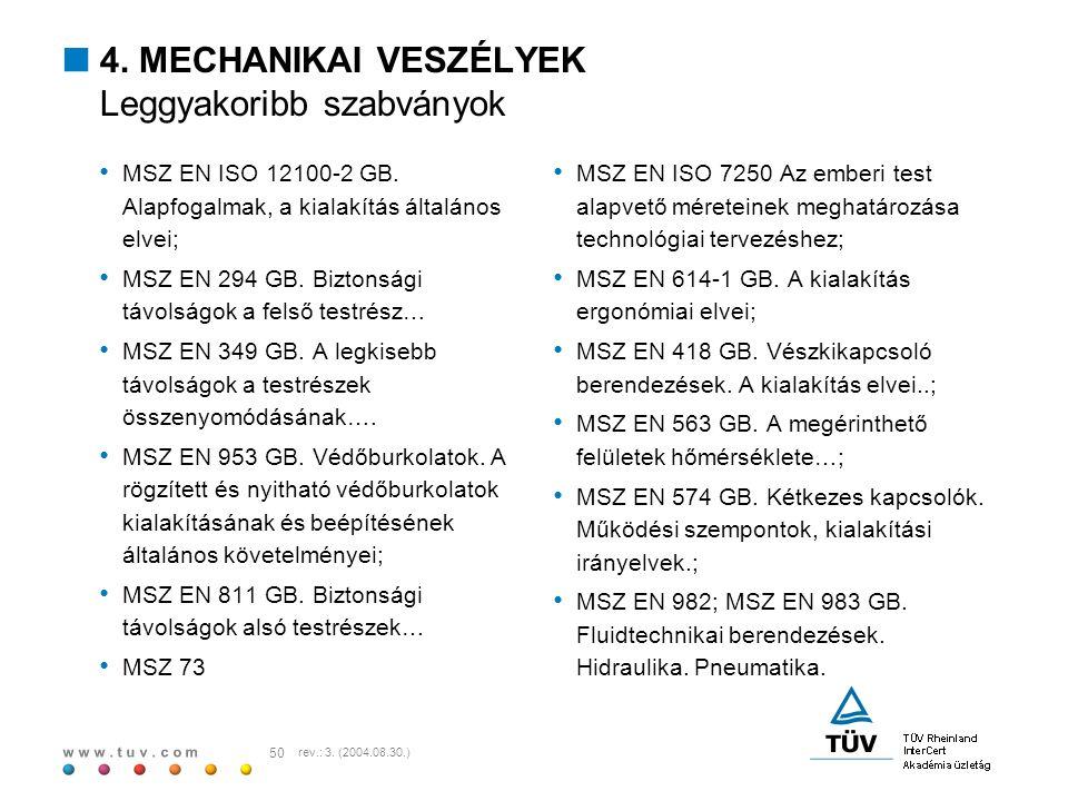 w w w. t u v. c o m 50 rev.: 3. (2004.08.30.)  4. MECHANIKAI VESZÉLYEK Leggyakoribb szabványok MSZ EN ISO 12100-2 GB. Alapfogalmak, a kialakítás álta