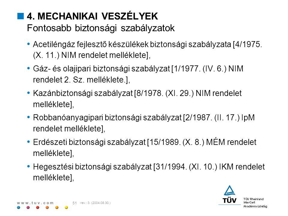 w w w. t u v. c o m 51 rev.: 3. (2004.08.30.)  4. MECHANIKAI VESZÉLYEK Fontosabb biztonsági szabályzatok Acetiléngáz fejlesztő készülékek biztonsági