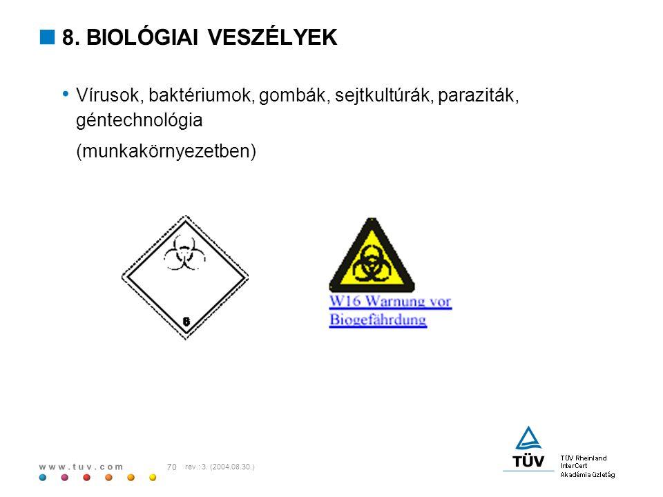 w w w. t u v. c o m 70 rev.: 3. (2004.08.30.)  8. BIOLÓGIAI VESZÉLYEK Vírusok, baktériumok, gombák, sejtkultúrák, paraziták, géntechnológia (munkakör