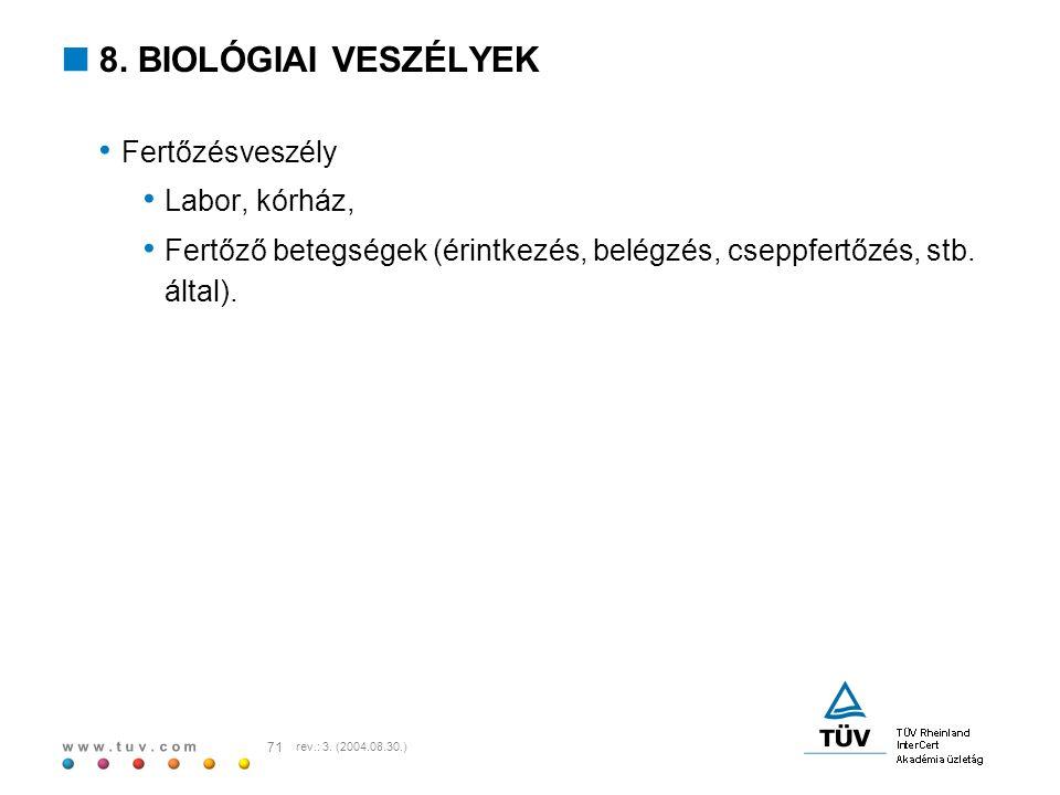 w w w. t u v. c o m 71 rev.: 3. (2004.08.30.)  8. BIOLÓGIAI VESZÉLYEK Fertőzésveszély Labor, kórház, Fertőző betegségek (érintkezés, belégzés, cseppf