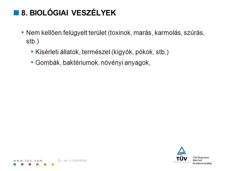 w w w. t u v. c o m 72 rev.: 3. (2004.08.30.)  8. BIOLÓGIAI VESZÉLYEK Nem kellően felügyelt terület (toxinok, marás, karmolás, szúrás, stb.) Kísérlet