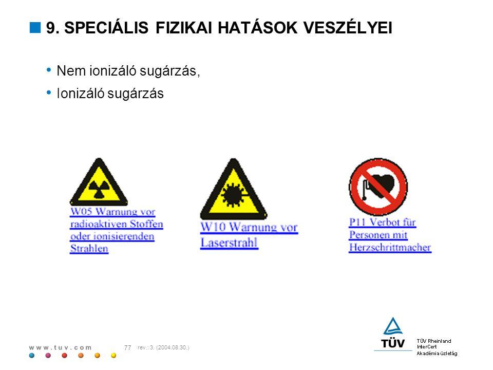 w w w. t u v. c o m 77 rev.: 3. (2004.08.30.)  9. SPECIÁLIS FIZIKAI HATÁSOK VESZÉLYEI Nem ionizáló sugárzás, Ionizáló sugárzás