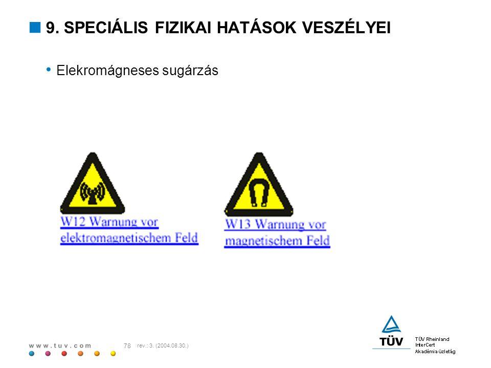 w w w. t u v. c o m 78 rev.: 3. (2004.08.30.)  9. SPECIÁLIS FIZIKAI HATÁSOK VESZÉLYEI Elekromágneses sugárzás