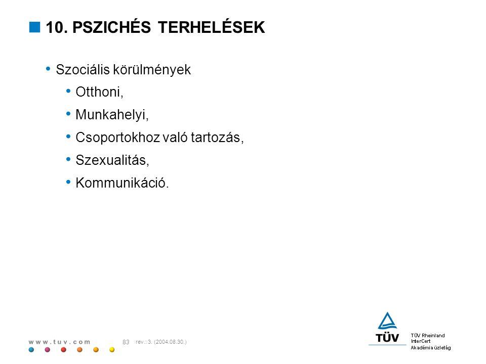 w w w. t u v. c o m 83 rev.: 3. (2004.08.30.)  10. PSZICHÉS TERHELÉSEK Szociális körülmények Otthoni, Munkahelyi, Csoportokhoz való tartozás, Szexual