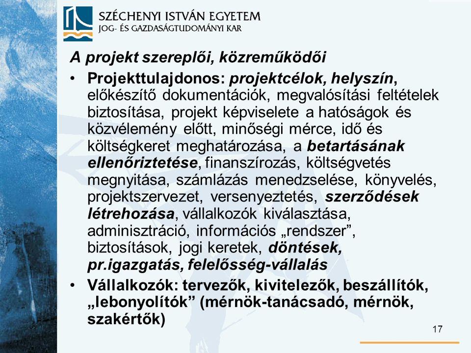 """17 A projekt szereplői, közreműködői Projekttulajdonos: projektcélok, helyszín, előkészítő dokumentációk, megvalósítási feltételek biztosítása, projekt képviselete a hatóságok és közvélemény előtt, minőségi mérce, idő és költségkeret meghatározása, a betartásának ellenőriztetése, finanszírozás, költségvetés megnyitása, számlázás menedzselése, könyvelés, projektszervezet, versenyeztetés, szerződések létrehozása, vállalkozók kiválasztása, adminisztráció, információs """"rendszer , biztosítások, jogi keretek, döntések, pr.igazgatás, felelősség-vállalás Vállalkozók: tervezők, kivitelezők, beszállítók, """"lebonyolítók (mérnök-tanácsadó, mérnök, szakértők)"""