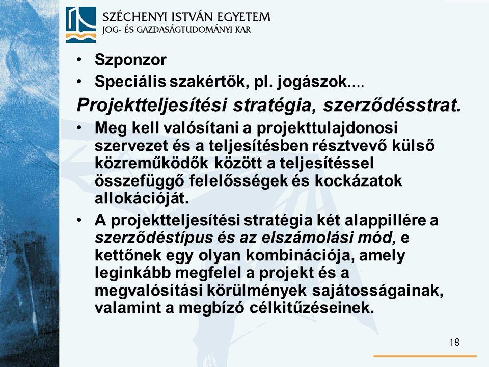 18 Szponzor Speciális szakértők, pl.jogászok …. Projektteljesítési stratégia, szerződésstrat.
