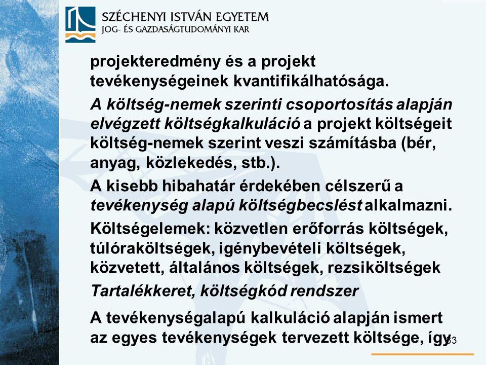 33 projekteredmény és a projekt tevékenységeinek kvantifikálhatósága.