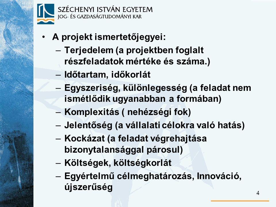 25 Projekttervezés Az előkészítő jellegű terveket a proj.szervezet készíti vagy készítteti.
