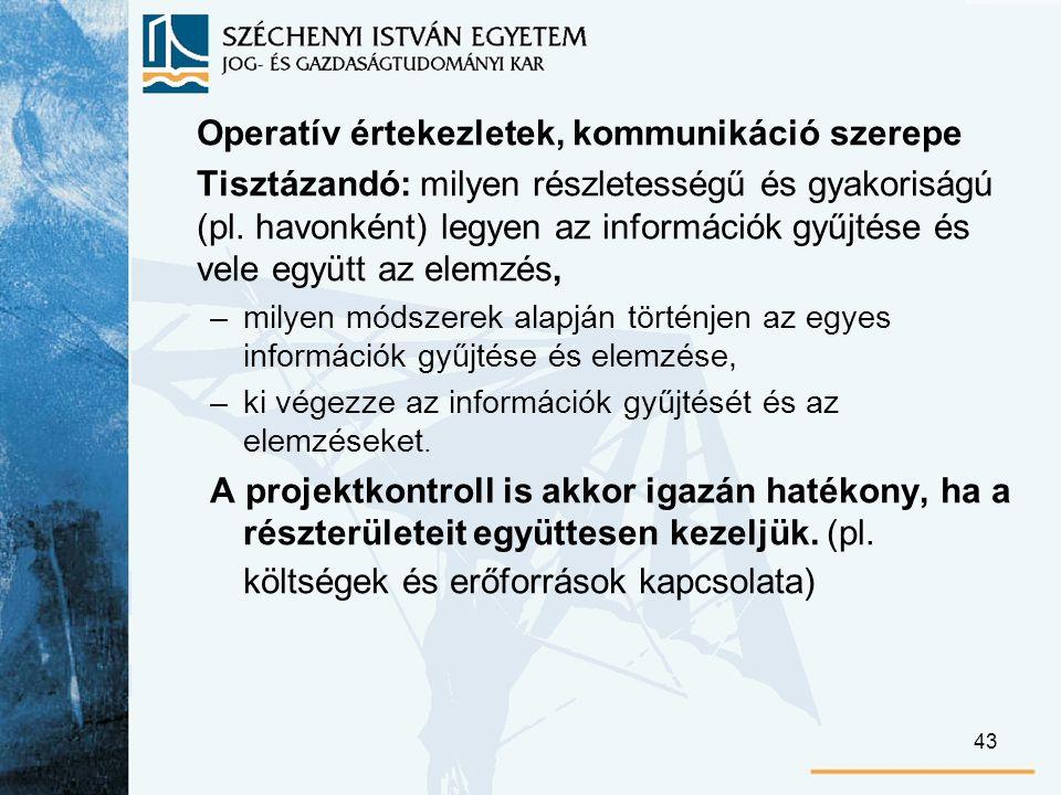 43 Operatív értekezletek, kommunikáció szerepe Tisztázandó: milyen részletességű és gyakoriságú (pl.