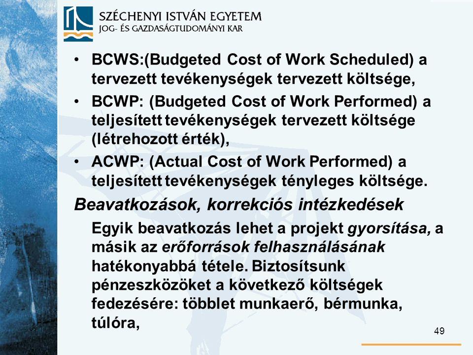 49 BCWS:(Budgeted Cost of Work Scheduled) a tervezett tevékenységek tervezett költsége, BCWP: (Budgeted Cost of Work Performed) a teljesített tevékenységek tervezett költsége (létrehozott érték), ACWP: (Actual Cost of Work Performed) a teljesített tevékenységek tényleges költsége.
