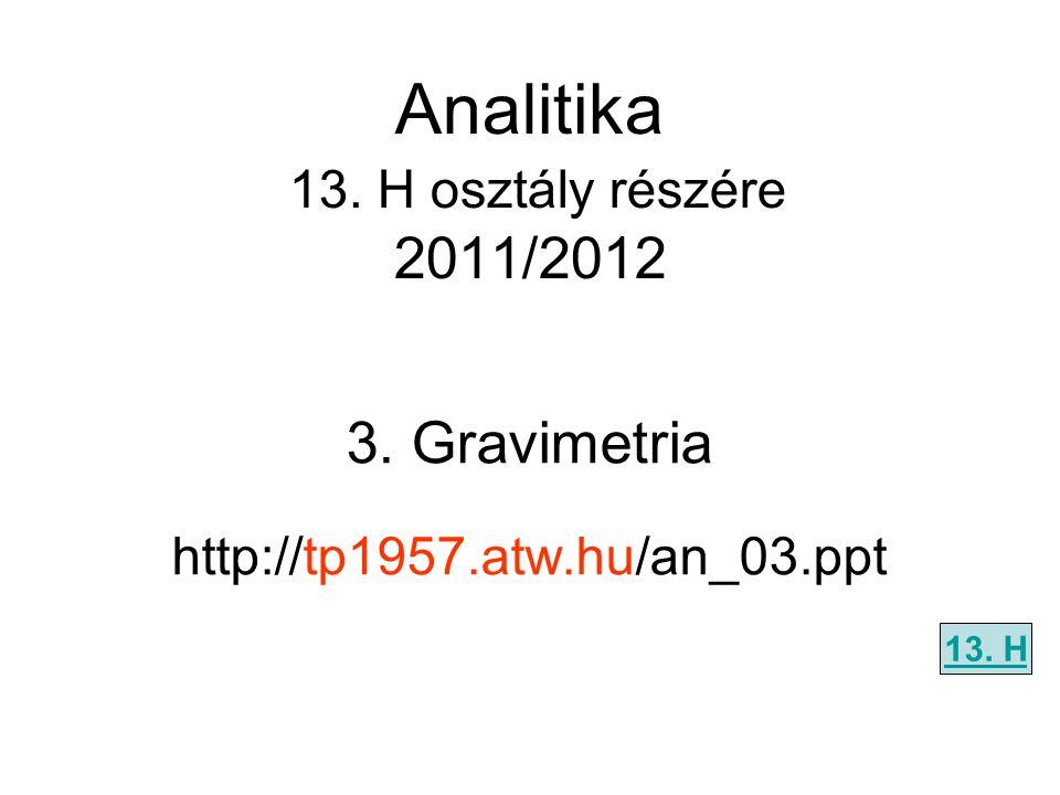 3. Gravimetria http://tp1957.atw.hu/an_03.ppt 13. H Analitika 13. H osztály részére 2011/2012