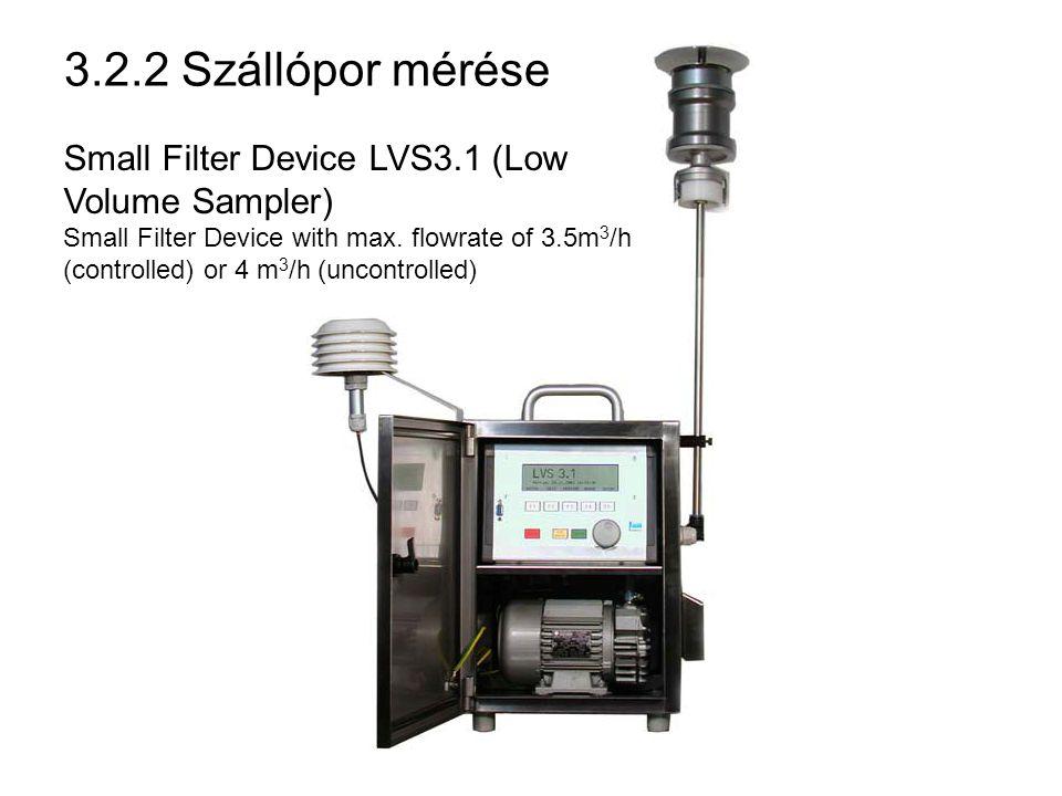 3.2.2 Szállópor mérése Ismert térfogatú (V) gázt átszívatunk lemért tömegű (m 1 ) szűrőrétegen, a megnövekedett tömeget (m 2 ) mérjük.
