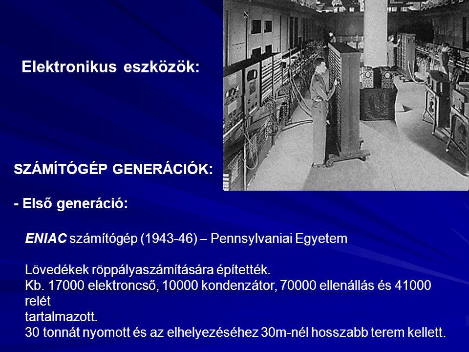 Elektronikus eszközök: ENIAC számítógép (1943-46) – Pennsylvaniai Egyetem Lövedékek röppályaszámítására építették. Kb. 17000 elektroncső, 10000 konden