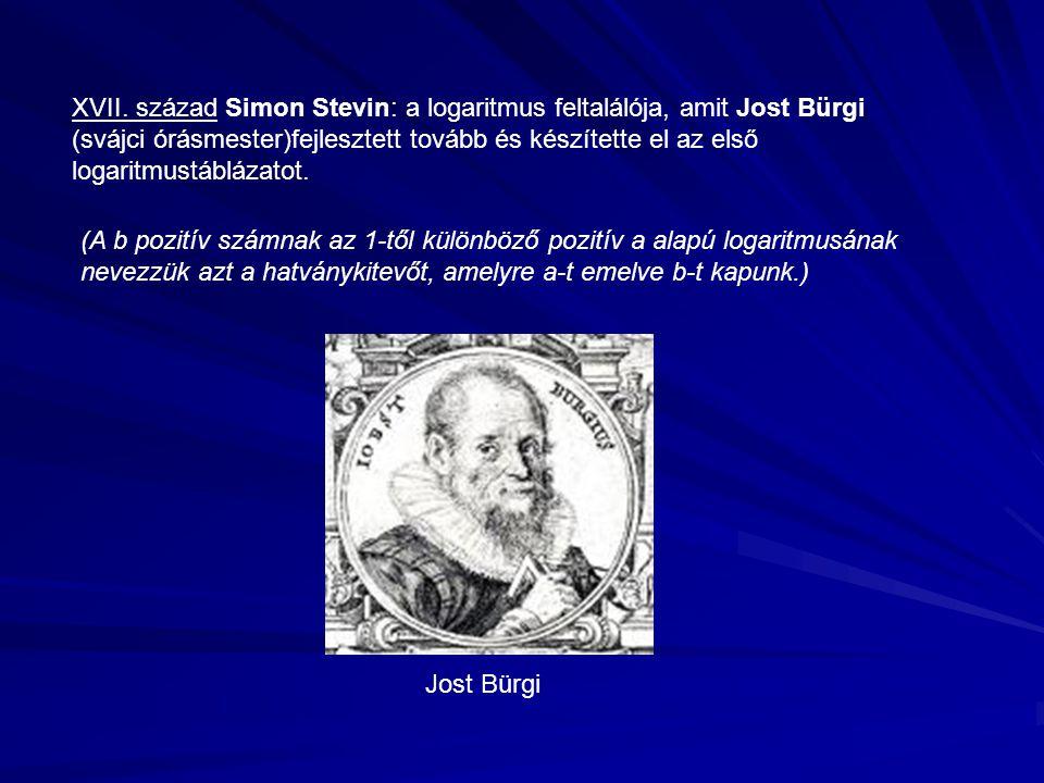 XVII. század Simon Stevin: a logaritmus feltalálója, amit Jost Bürgi (svájci órásmester)fejlesztett tovább és készítette el az első logaritmustáblázat