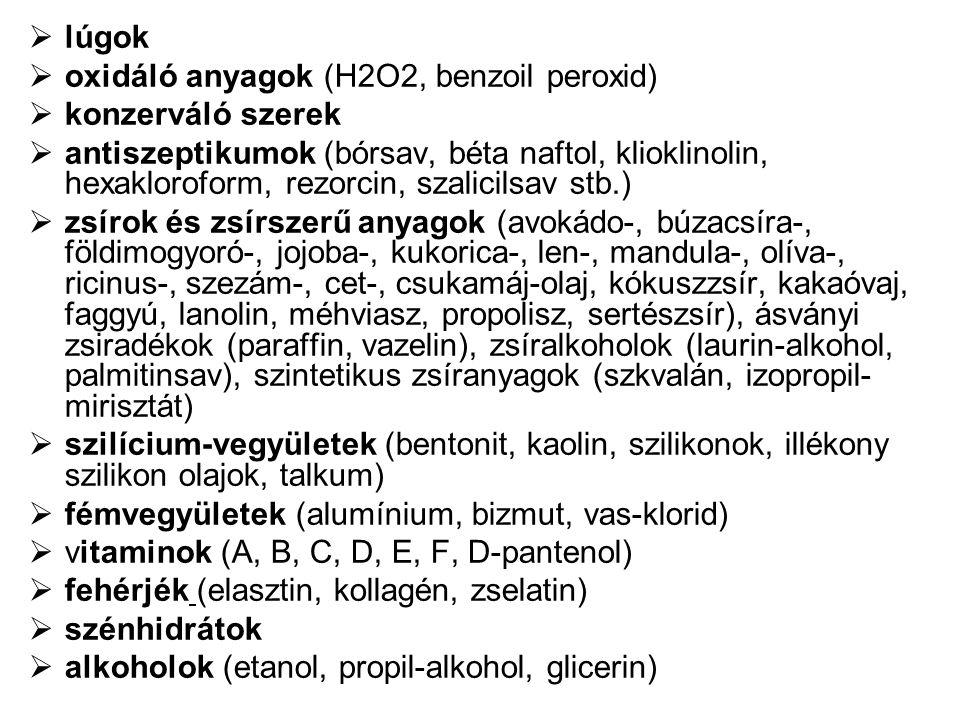  lúgok  oxidáló anyagok (H2O2, benzoil peroxid)  konzerváló szerek  antiszeptikumok (bórsav, béta naftol, klioklinolin, hexakloroform, rezorcin, s