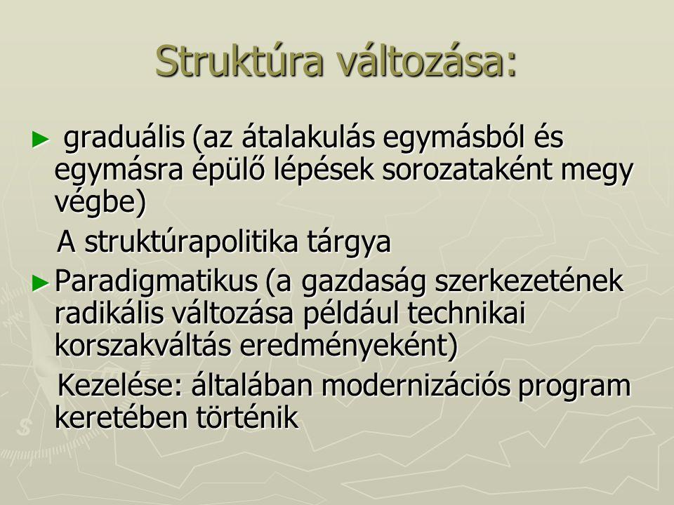 Struktúra változása: ► graduális (az átalakulás egymásból és egymásra épülő lépések sorozataként megy végbe) A struktúrapolitika tárgya A struktúrapol