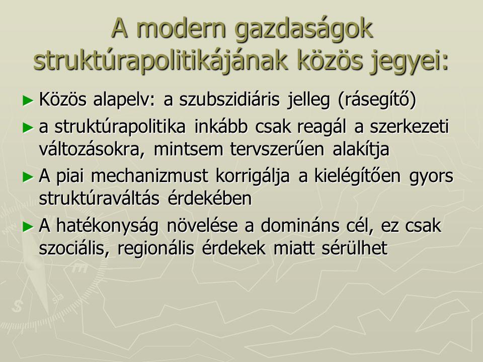 A modern gazdaságok struktúrapolitikájának közös jegyei: ► Közös alapelv: a szubszidiáris jelleg (rásegítő) ► a struktúrapolitika inkább csak reagál a
