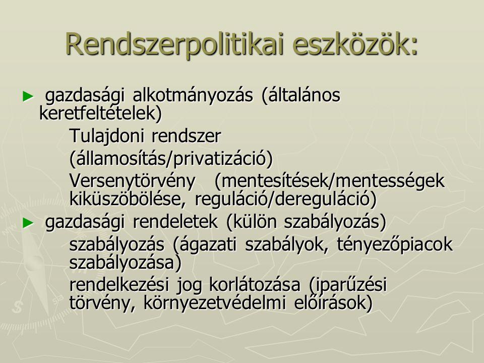 Rendszerpolitikai eszközök: ► gazdasági alkotmányozás (általános keretfeltételek) Tulajdoni rendszer (államosítás/privatizáció) Versenytörvény (mentes