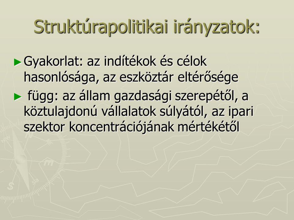 Struktúrapolitikai irányzatok: ► Gyakorlat: az indítékok és célok hasonlósága, az eszköztár eltérősége ► függ: az állam gazdasági szerepétől, a köztul