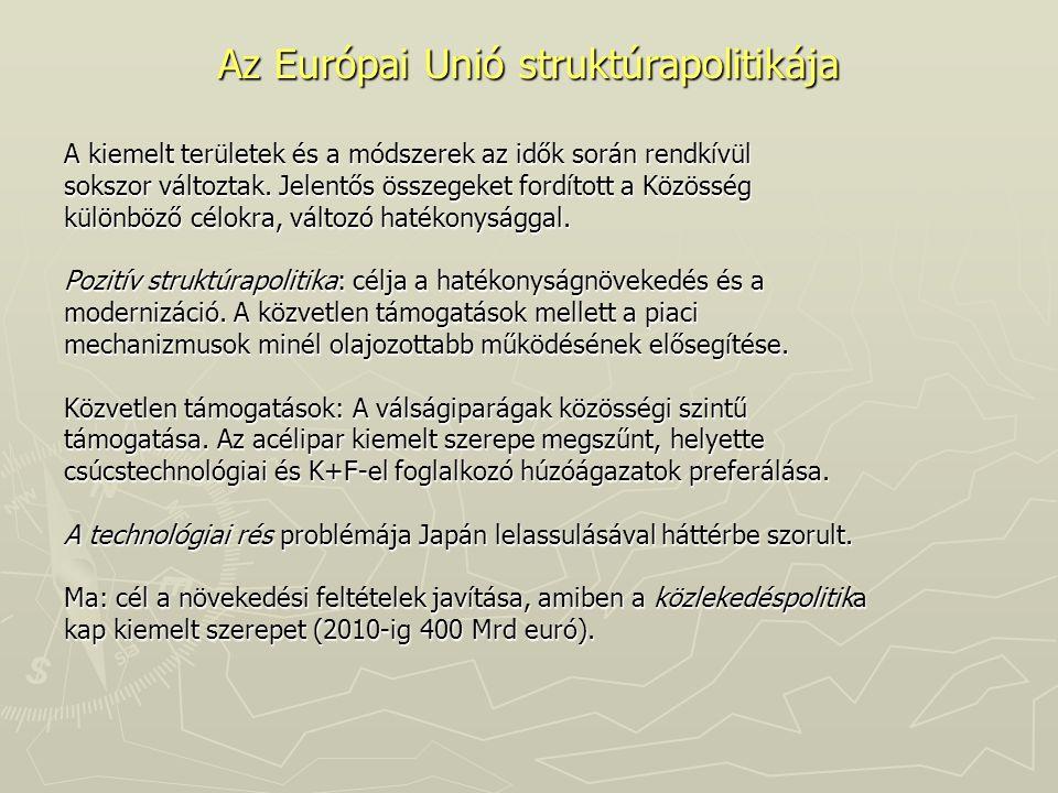 Az Európai Unió struktúrapolitikája A kiemelt területek és a módszerek az idők során rendkívül sokszor változtak. Jelentős összegeket fordított a Közö