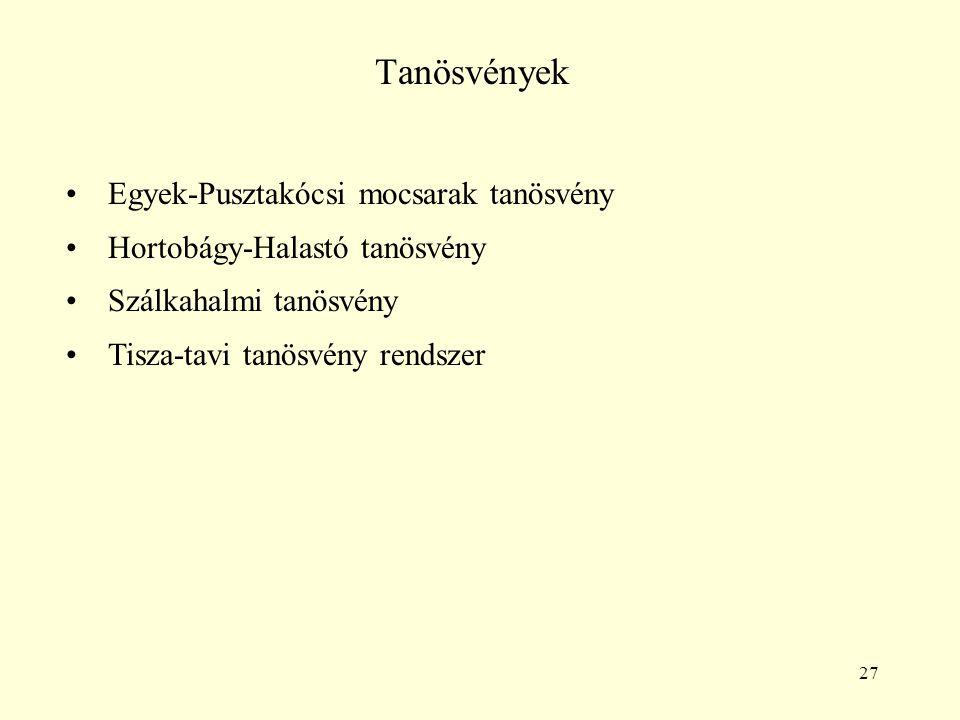 27 Tanösvények Egyek-Pusztakócsi mocsarak tanösvény Hortobágy-Halastó tanösvény Szálkahalmi tanösvény Tisza-tavi tanösvény rendszer