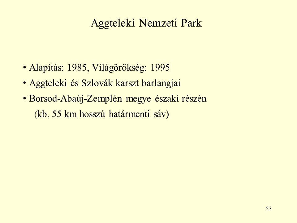 53 Aggteleki Nemzeti Park Alapítás: 1985, Világörökség: 1995 Aggteleki és Szlovák karszt barlangjai Borsod-Abaúj-Zemplén megye északi részén ( kb. 55
