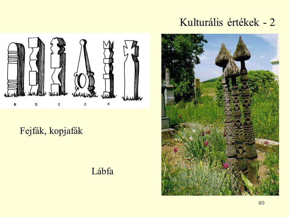 60 Kulturális értékek - 2 Fejfák, kopjafák Lábfa