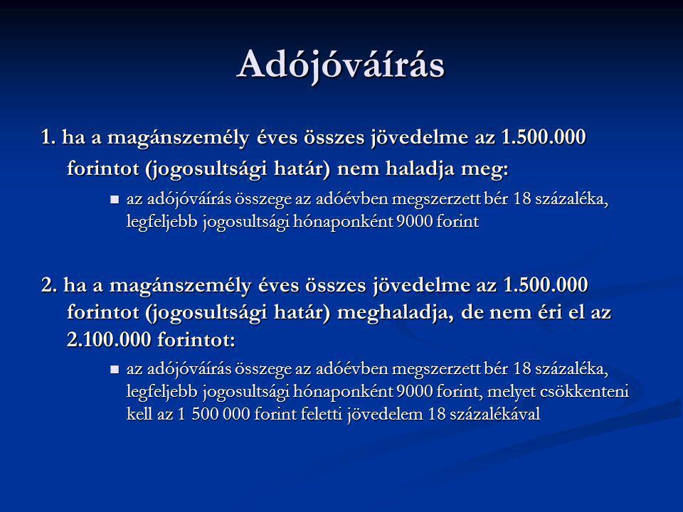Adójóváírás 1. ha a magánszemély éves összes jövedelme az 1.500.000 forintot (jogosultsági határ) nem haladja meg: az adójóváírás összege az adóévben