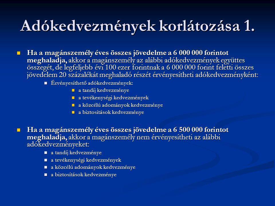 Adókedvezmények korlátozása 1. Ha a magánszemély éves összes jövedelme a 6 000 000 forintot meghaladja, akkor a magánszemély az alábbi adókedvezmények